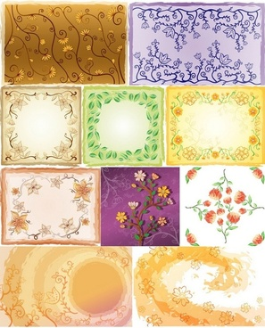 fresh flowers handpainted background vector artwork 5