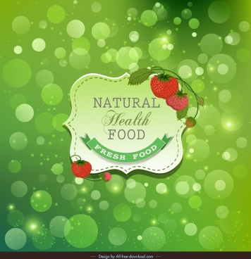 fresh food advertising banner green bokeh strawberry decor