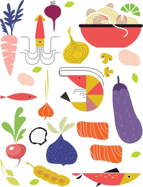 fresh food background vegetable seafood icons colored flat