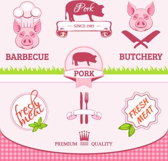 fresh food label design vector