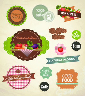 fresh food labels design vector