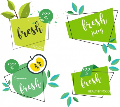 fresh food tags templates green leaf flat shapes