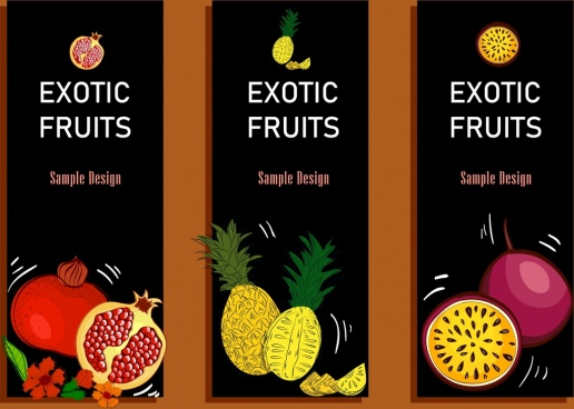 fresh fruit advertising banner dark multicolored handdrawn design