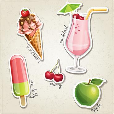 fresh fruit and ice cream vector set