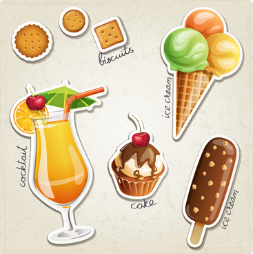 fresh fruit and ice cream vector set