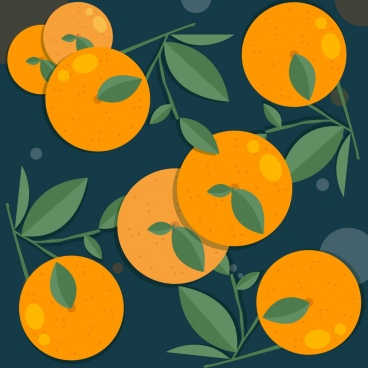 fresh fruit background orange icons multicolored classic decor