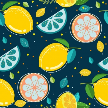 fresh fruit background slices icons colored repeating design