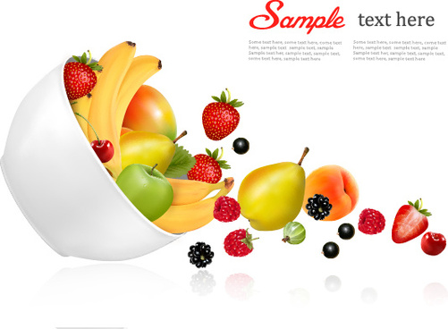 fresh fruit background vector graphics