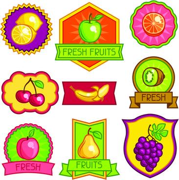 fresh fruit labels vector design
