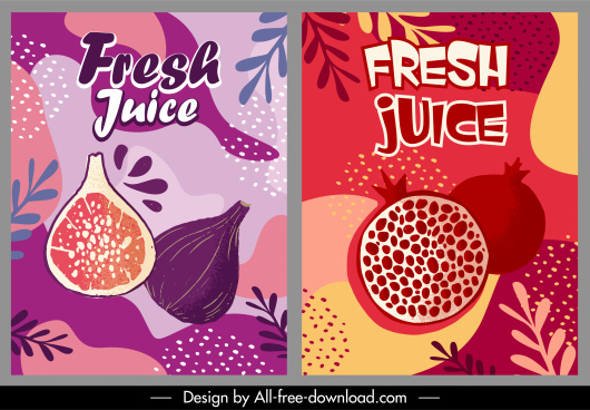 fresh fruit poster template flat retro handdrawn sketch
