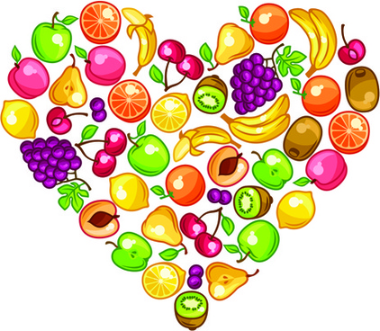 fresh fruit with heart vector