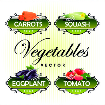 fresh fruits and vegetables labels vector