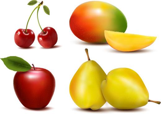 fresh fruits design vector set