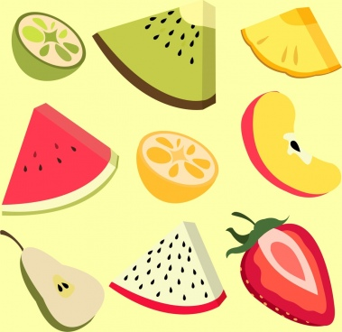 fresh fruits icons slices design 3d multicolored style