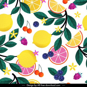 fresh fruits painting colorful flat sketch