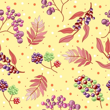 fresh fruits pattern multicolored decoration berry leaf icons
