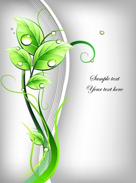 nature background green wet leaves icon curves decor