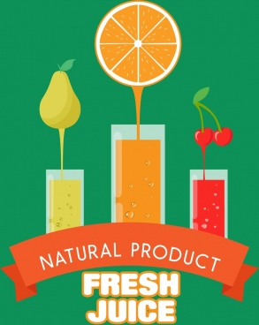 fresh juice banner various fruits flat color decoration