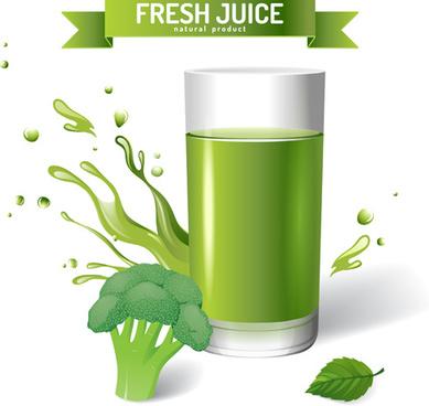 fresh juice splashes effect poster design