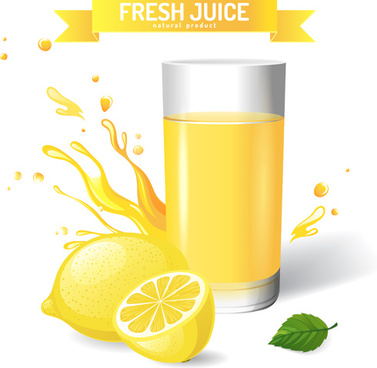 fresh lemon juice creative design vector