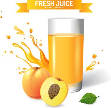 fresh peach juice creative design vector