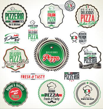 fresh pizza labels vector