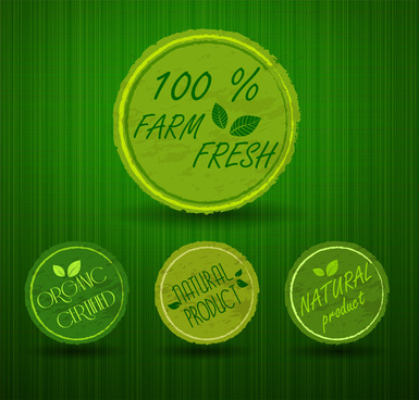 fresh product round labels illustration with green background