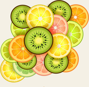 fresh sliced fruit vector