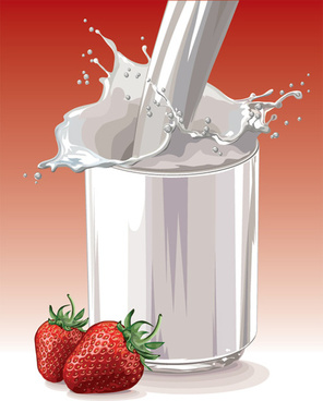 fresh strawberries and milk design vector