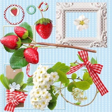 fresh strawberries and photo frames psd layered