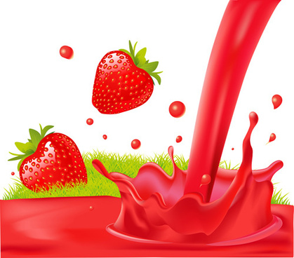 fresh strawberry juice vector