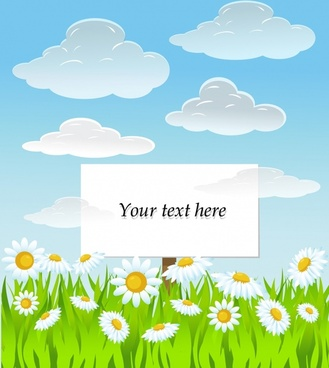 summer background flowers clouds icons colorful bright design