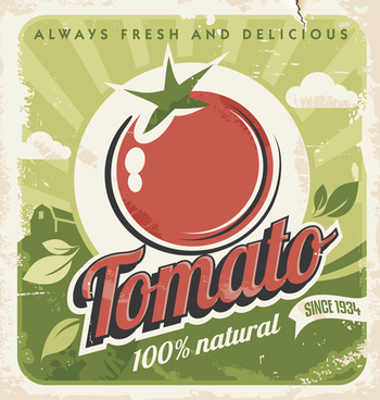 fresh tomato retro style poster vector