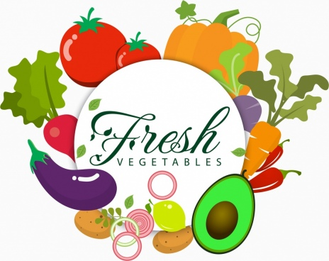 fresh vegetables advertising various colorful icons decoration