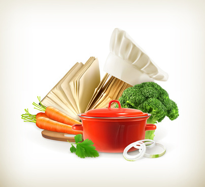 fresh vegetables and cooking vector