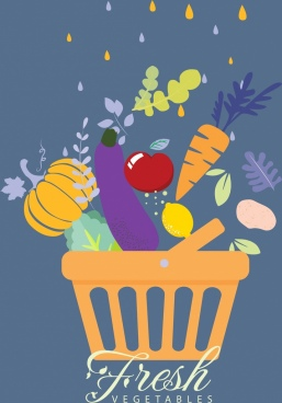 fresh vegetables background raindrops basket icons multicolored flat