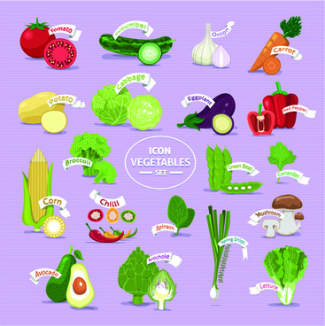 fresh vegetables creative icons vector