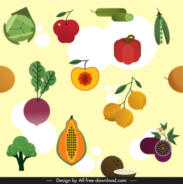 fresh vegetables fruits pattern colorful flat sketch
