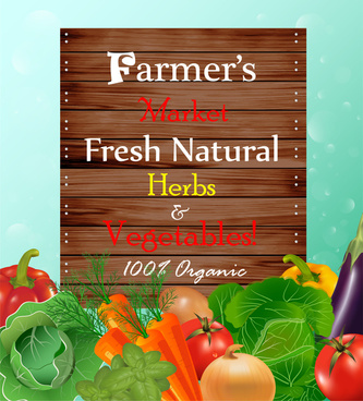 fresh vegetables promotion banner illustration with realistic style