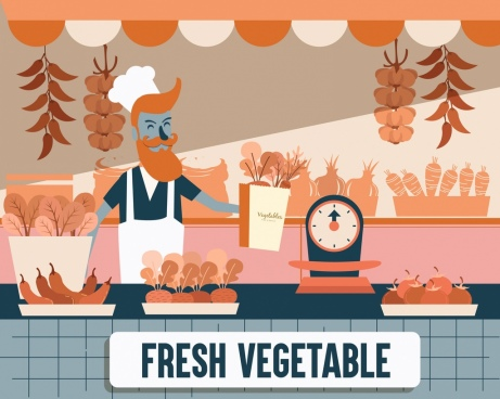 fresh vegetables store drawing colored cartoon sketch