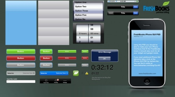 freshbooks iphone gui psd layered