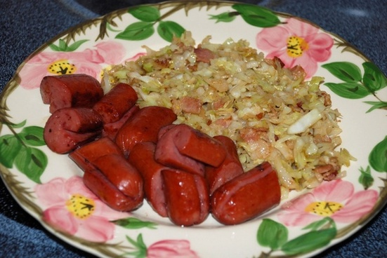 fried cabbage and sausages