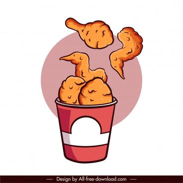 fried chicken food icon classical handdrawn dynamic