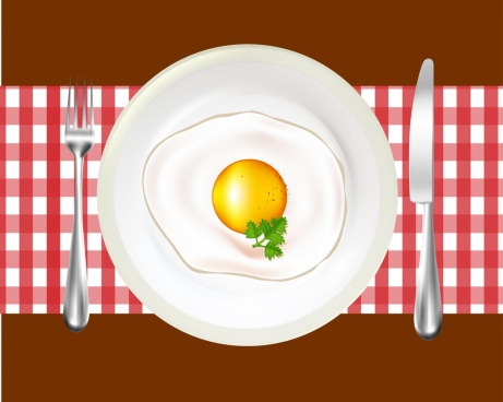 fried egg background shiny dish knife fork icons decor