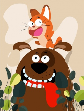 friend painting cat dog icons cartoon design