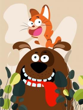 friend painting cat dog icons cartoon design