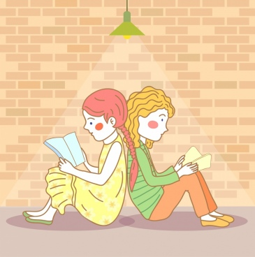 friends background girls reading books icons cartoon design