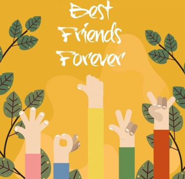 friends concept banner raising arms leaves icons decor
