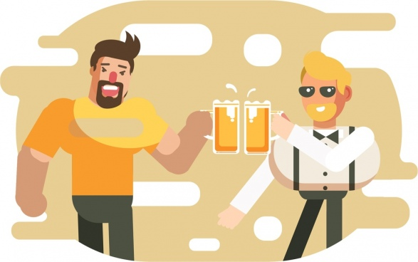 friendship background cheering men beer icons cartoon characters