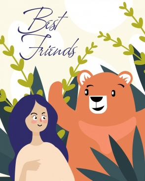 friendship background girl bear icons cartoon characters